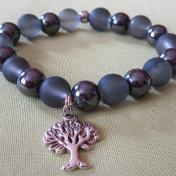 Bracelet Hématite et perles de verre