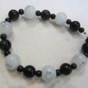 Bracelet Obsidienne noire et perles grises
