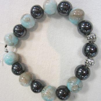 Bracelet d'Hématite et perles grises