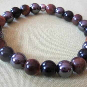 Bracelet 3 protection Œil de Tigre, Hématite et Obsidienne noir